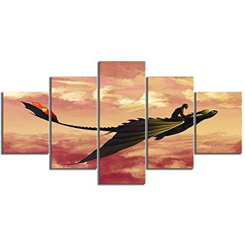WWMJBH Cartoon afbeelding muurkunst canvas schilderij 5 panelen cartoon film dat langzaam karakter vliegende draak poster kwast huis decoratievlies canvas afbeelding 5 kunstdruk modern 200x100cm