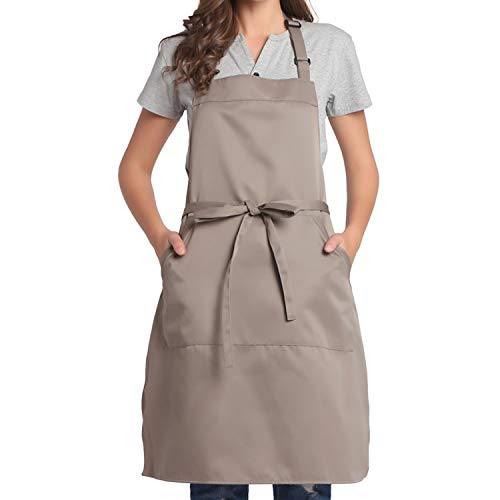 BIGHAS Adjustable Bib Apron with Pocket Extra Long Ties for Women Men, 18 Colors, Chef, Kitchen, Home, Restaurant, Cafe, Cooking, Baking (Tan)