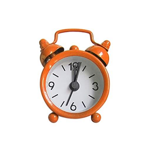 YINGBBH Despertador Creativo Lindo Mini Metal Metal Pequeño Reloj de Alarma 4 cm Electrónico Pequeño Reloj de Alarma Vendimia Viaje Casa Desenombros Decoración Reloj Reloj (Color : Orange)