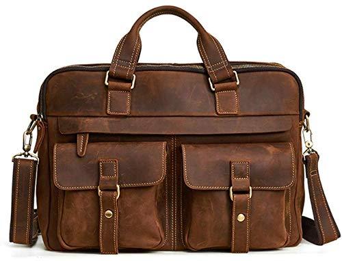 Heren laptoptas van leer, reistas aan de handgreep, grote schoudertas, waterdicht, zakelijke messenger-tas voor heren, crossbody-tas, maat 15,6 inch