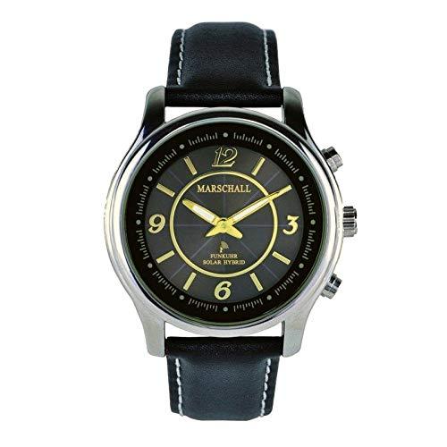 Sprechende Funk-Armbanduhr für Damen mit Lederarmband Solar Black/Gold