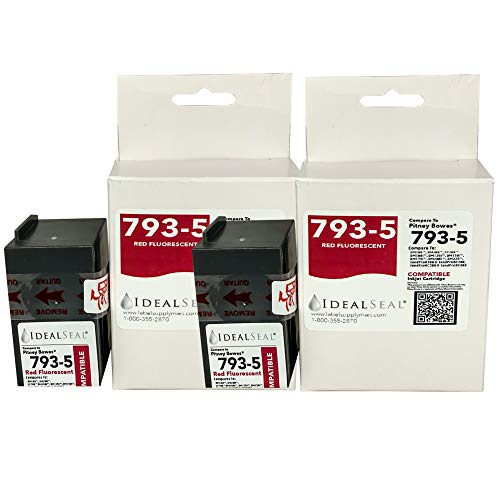 (2) Pitney Bowes Compatibe 793-5 Red Ink Cartridge for P700, DM100i, DM125i, DM150i, DM175i, DM200L, DM225 Postage Meters
