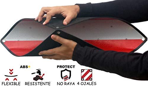MAGMA Warntafel für hinten | Für Fahrradträger, Heckträger & Anhänger | Warnschild für Wohnwagen, Wohnmobil, Auto, Motorrad | Für Urlaub, Camping, Abschleppen | Rot-weiße Streifen, reflektierend | (1)
