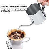 繊細なグースネックコーヒーケトルコーヒーポットグースネックコーヒーポットステンレス鋼火傷防止コーヒーショップコーヒー用アクセサリー(Silver)