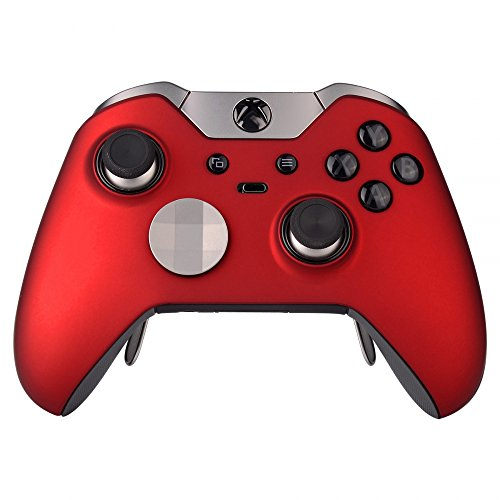 eXtremeRate Scarlet Red Soft Touch Replacement Shell Front Faceplate Cover for Xbox One Elite Controller Model 1698 with Thumbstick Accent Rings - Controller NOT Included