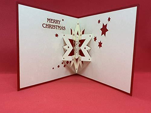 BC Worldwide Ltd Pop-up 3D hecho a mano Tarjeta de Navidad de Navidad 12cm x12cm Feliz Navidad muñeco de nieve estrella David papercraft origami kirigami saludo regalo amistad amor