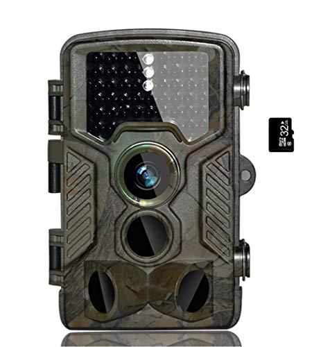 BestoU Cámara de Caza 16MP 1080P HD Nocturna para Vigilancia Trail Cámara Impermeable 46 IR Invisible 3 PIR Sensor de Movimiento(2.4' LCD ) Visión Nocturna de Caza, con 32GB Micro SD