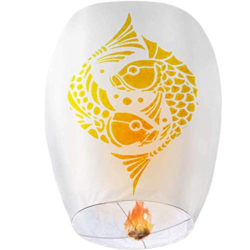 8 Pack Handmade Chinese Lanterns with Unique Printing Paper Wish Lanterns...