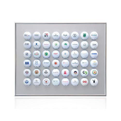 Knix Premium Golfball Setzkasten aus Aluminium für 48 Golfbälle (50 x 40 cm) - QUER - Schaukasten, Golf-Regal Vitrine Display passionierte Golfer