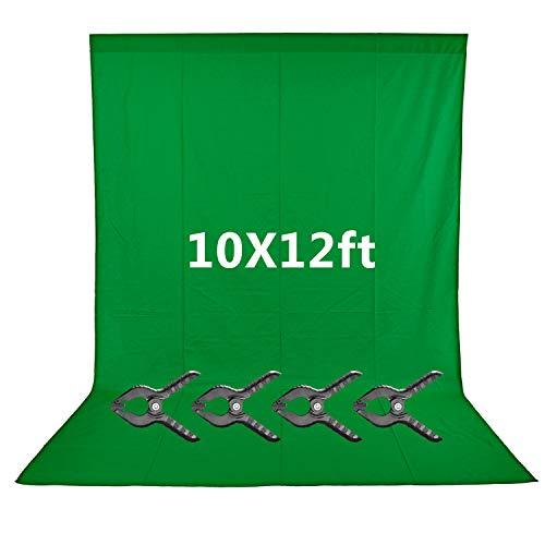 Neewer 3x3,6 Meter Grüner Chromakey Faser Hintergrund Bildschirm für Foto-Videostudio, 4 Hintergrundklammern enthalten, ideal für Porträts und Produktaufnahmen