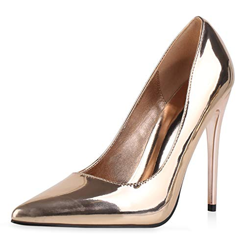 SCARPE VITA Damen Spitze Pumps Stiletto Party Schuhe Lack High Heels Metallic Absatzschuhe Elegante Abendschuhe 186287 Rose Gold 37