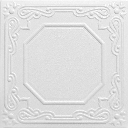A La Maison Ceilings R32c Topkapi Palace Foam Glue-up Ceiling Tile (256 sq. ft./Case), Pack of 96, Plain White