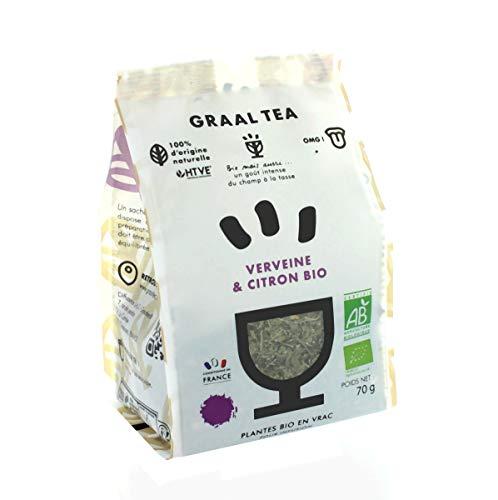 GRAALTEA - Infusion Dégustation - Verveine & Citron BIO en Vrac - 100% d'Origine Naturelle - Made in France - 1 Paquet x 70 grammes