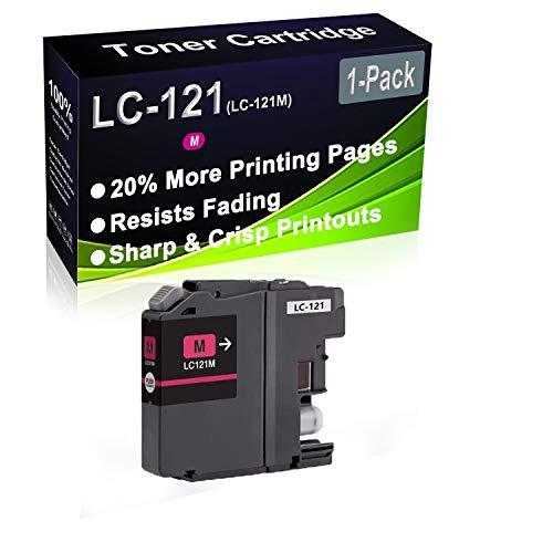 1 paquete (Magenta) Cartucho de tinta remanufacturado de alto rendimiento de repuesto para Brother LC-121 LC121 LC-121M para usar para impresoras DCP-J132W DCP-J152W