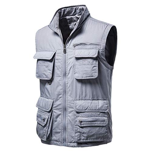 Men's Waistcoat Jacket Multi Pocket Vest Classic Lightweight Vest Outdoor Fishing Camping Outerwear Sleeveless Traveling Photography Hiking Gilet All-Season M