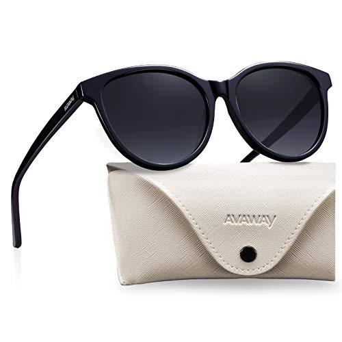 AVAWAY Vintage Donna Occhiali da Sole Polarizzati Oversize UV400 Protezione Lente Telaio in Acetato