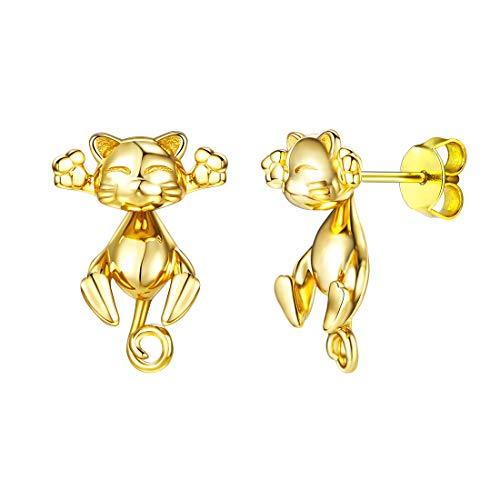 Pendientes Gato para mujeres aretes oro 18k de plata de ley diseño...