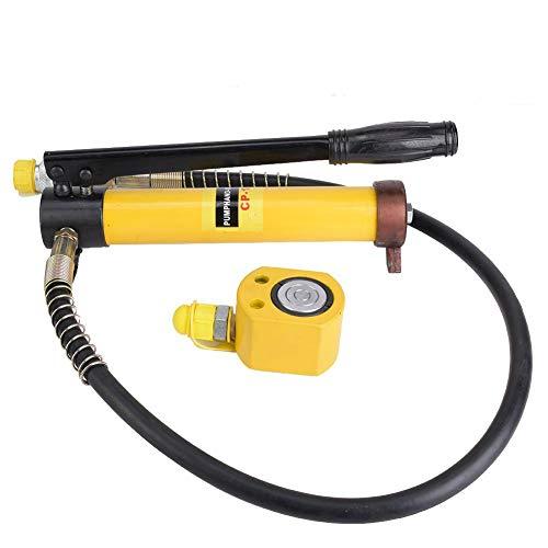 Hydraulikzylinder, Ultradünner 10T-Hydraulikzylinder + manuelle Hydraulikpumpe Stoke 11 mm Mini Protable Hydraulikzylinder Autohubheber Langgriff Handbetätigte Pumpe für Autoreparatur- und Bauarbeiten