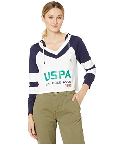 U.S. Polo Assn. Hoodie Double Stripe Sleeve Optic White XL