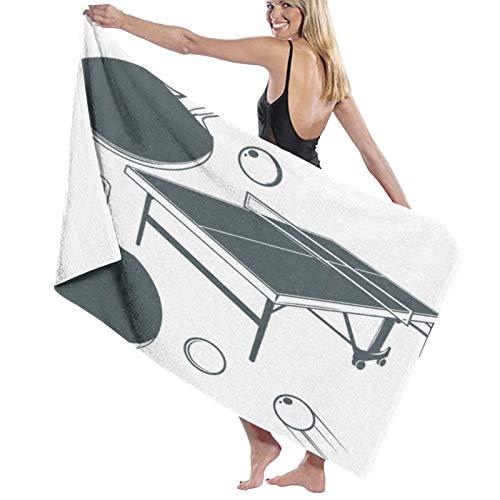 SUDISSKM Asciugamano da Spiaggia Telo Mare,Tavolo da ping pong, racchetta da ping pong, pallina da ping pong,Asciugamano Fitness ad Asciugatura Rapida 130 X 80 cm,Asciugamano da Viaggio