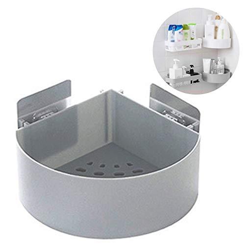Sin Fisuras Punch-Libre de succión Esquina de la Pared de la Ducha Triángulo Plataforma de baño de Ducha del champú Estante Cocina del sostenedor de Almacenamiento en Rack Organizar (Color : Gray)