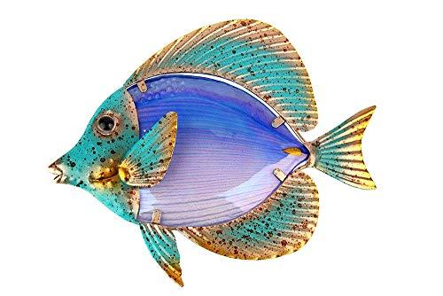 Liffy Metall-Fisch-Wanddekoration für den Außenbereich, Glaskunst, Gartendekoration violett