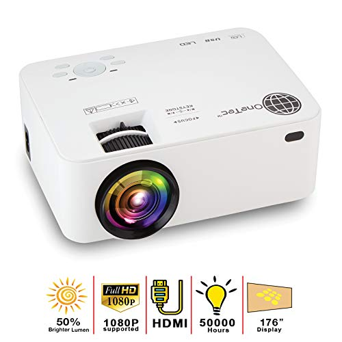 MacStein Mini Portable Movie Projector with 1080P Supported Video Display - 1800+ Lumens - 176' LCD Full HD Home Theater - HDMI Cable Included - Compatible with Computer, PC and Laptop