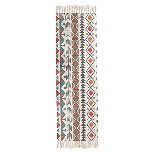CMZ Ethnic Stil Baumwolle und Leinen Teppich Teppich Retro Schlichte Tapisserie handgefertigten Teppich Studie Schlafzimmer Teppich Teppich Sofa Kissen