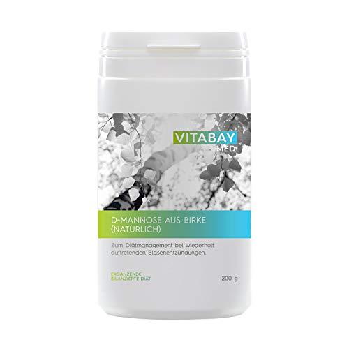 Vitabay D-Mannose Pulver 200 g • Zum Diätmanagement bei wiederholt auftretenden Blasenentzündungen • Aus Birke • 100% Naturbelassen