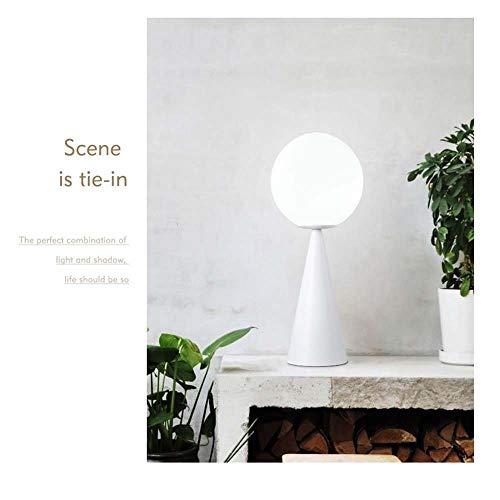 Hogreat Smart led Lámpara posmoderna Estilo nórdico Moda cónico Personalidad Creativa Escritorio de Hierro labrado Aprendizaje Vidrio Bola Cama Decorativa lámpara de Mesa (Color : White)