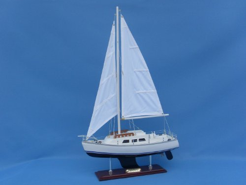 Catalina Yacht 24' - Wood Model Sailing Boat - Yacht Model - Nautical Centerpie