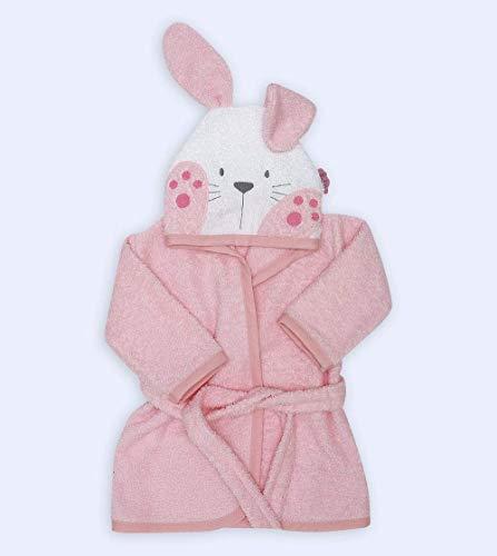 Ti TIN - Albornoz Infantil con Capucha de Rizo Toalla 100% Algodón Suave y Absorbente con un Diseño de Conejito Color Rosa, Talla de 1 o 2 años