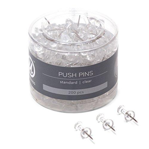 U Brands Push Pins, Clear Plastic Head, Steel Point, 200-Count - 658U08-24