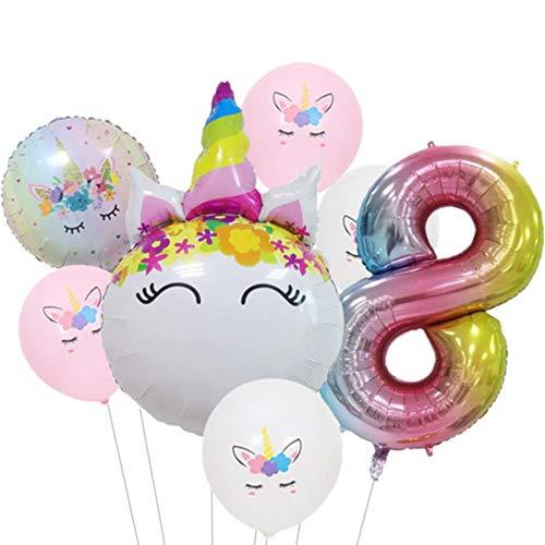 DIWULI, Ballon-Set, XL Zahlen-Ballon, Zahl 8, Einhorn-Ballon, Latex-Ballon, Latex-Luftballon 8. Kinder-Geburtstag Mädchen, Motto-Party, Dekoration, Folien-Ballon, Folien-Luftballon, Zahlenluftballon