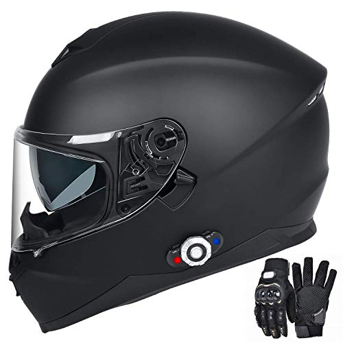 Bluetooth Integrated Motorcycle Helmet, FreedConn DOT Full Face BM12 Communication System Motorcycle Helmet with 500m FM radio/ MP3, 2-3 Riders Pairing Intercom (Matte Black, XL)