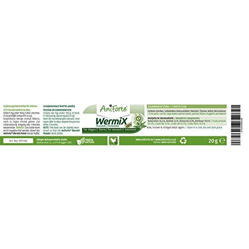 AniForte WermiX Pulver für Hühner, Gänse, Enten und Großvögel 20g - Naturprodukt vor, während und nach Wurmbefall mit Saponine, Bitterstoffe, Gerbstoffe, Wermut, Naturkräuter harmonisieren Magen & Darm - 4