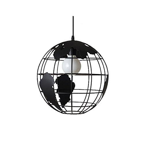 Wings of wind - Mappa lampadario E27 luce del pendente mondo moderno Lampada a soffitto colorato paralume in vetro (nero)