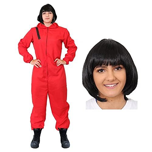 I LOVE FANCY DRESS LTD Disfraz DE LADRN DE Bancos DE Disfraces para Adultos - Mono Rojo & Peluca Bob Negra Disfraz DE CASA DE Papel - Disfraz DE TELEVISIN (X-Grande)
