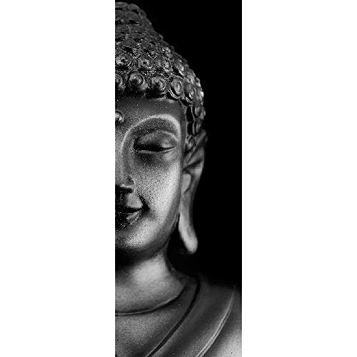 FCFLXJ Autoadhesivo Papel pintado de la puerta Estatua de Buda negro Cartel de la puerta 3D Bricolaje Etiqueta de la puerta Foto Fondo de pantalla HD Imprimir Oficina Inicio Dormitorio Decor 8