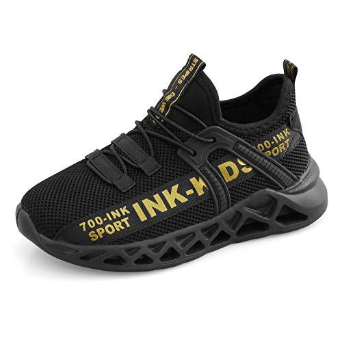 YUHUAWYH Kinder Schuhe Jungen Sportschuhe Mesh Turnschuhe Jungen Hallenschuhe Laufschuhe Leicht Atmungsaktiv Kinder Low-Top Sneakers, Schwarz Gold, 37 EU (38 Etikette)