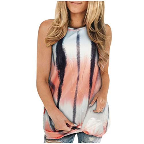 Affordable Women Tank Tops - Tie Dye Crew Neck Sleeveless Casual T-Shirt Loose Long Fit Tunic Tank T...