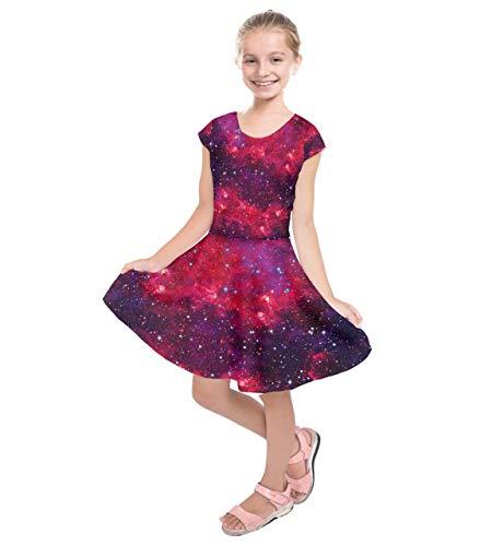 PattyCandy Girls Hot Red Dreamy Galaxy Print Kids Short Sleeve Dress - 8