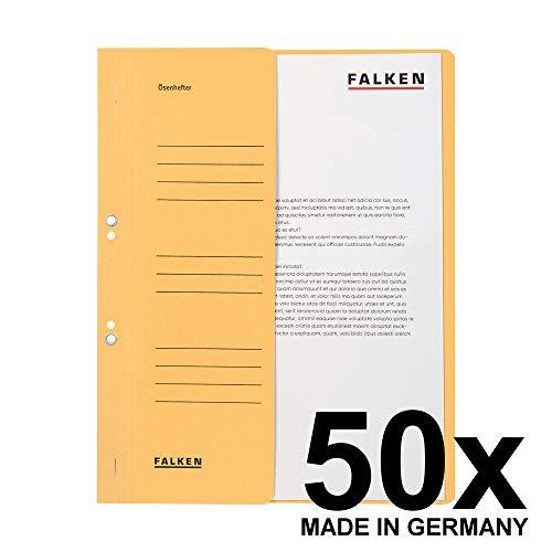 Original Falken 50er Pack Ösenhefter. Made in Germany. Aus Recycling-Karton mit halbem Vorderdeckel und Behördenheftung für DIN A4 chamois Hefter Sammelmappe Blauer Engel