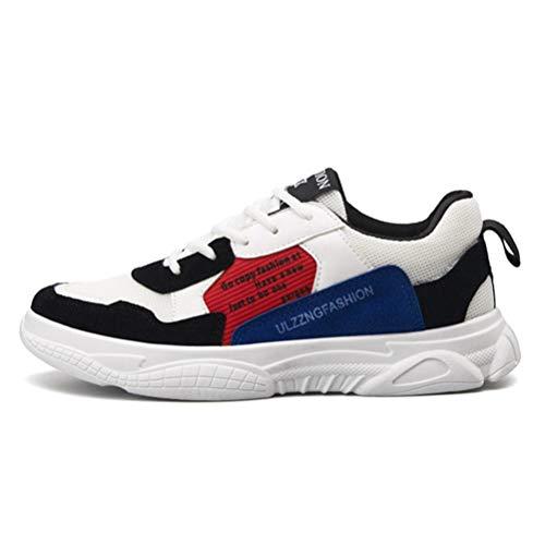 XIGUAFR Chaussure de Course Homme Running Souple Respirant Basket Chaussure de Sport Outdoor Antichoc Antidérapant Noir Rouge 40