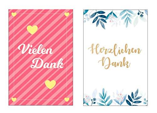 10 Stück (2x5) Premium Dankeskarten (Klappkarten) mit 12 Umschlägen, Danke, Dankeschön, Karten, Dankekarten, Hochzeit, Geburt, Baby, Taufe, Abschied, Geburtstag, Jubiläum