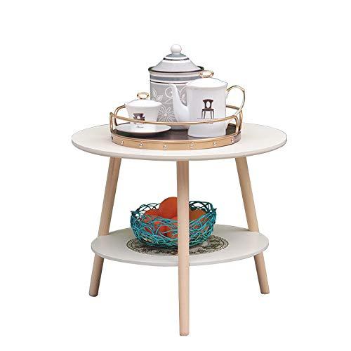 NA Nordischer Runder Couchtisch, Moderner Minimalistischer Kreativschlafzimmer-Nachttisch, Wohnzimmersofa Beistelltisch/Doppel-Couchtisch,Weiß,40Cm