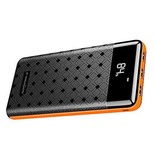X-DRAGON Powerbank 25000mAh Tragbares Externer Akku Ladegerät mit 3 USB Ausgängen und Zwei Eingängen, LCD-Display für Handy, iPhone, Samsung, Huawei, Xiaomi, Smartphones