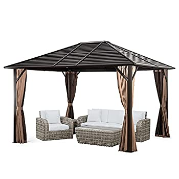 Pamapic 10 x12  Hardtop Patio Gazebo with Fully Enclosed Zipper Curtains & Breathable Mesh for Garden,Lawn,Outdoor Parties,Brown