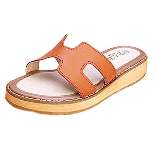Minetom Mujer Verano Zapatillas Cómodo Tacón Plano Sandalias Moda Plataforma Playa Slippers Sandals Marrón EU 39