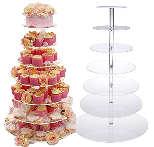 Oanon Round Crystal Clear Acrylic Cupcake Stand Wedding Display Cake Tower[US STOCK]